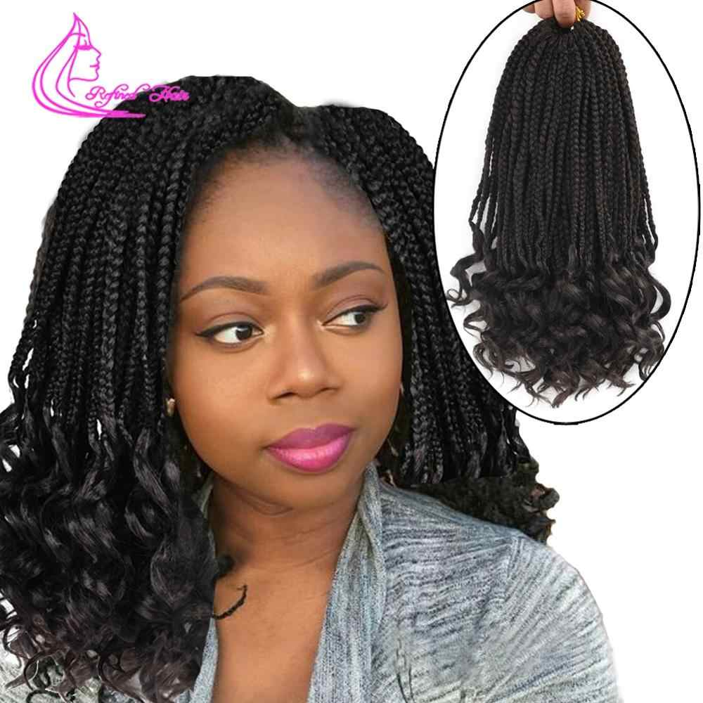 Refined 22Strands Crochet Box Braids Loose End 18Inch Ombre Color Synthetic Braiding Hair Extensions Black Brown Red