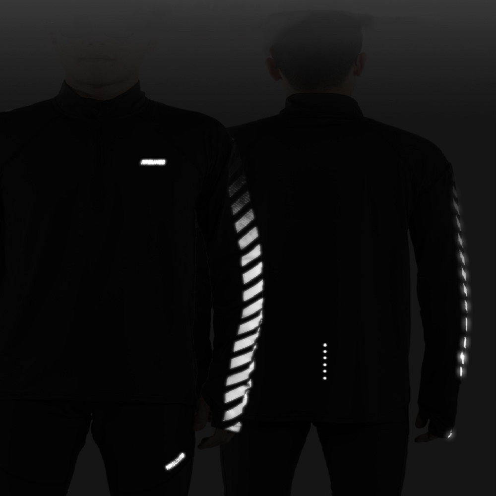 Купить с кэшбэком ARSUXEO Men Spring Autumn Running Shirts Long Sleeve Dry Fit Outdoor Sports Shirts Half- Zipper Running Clothing Reflective 18T6