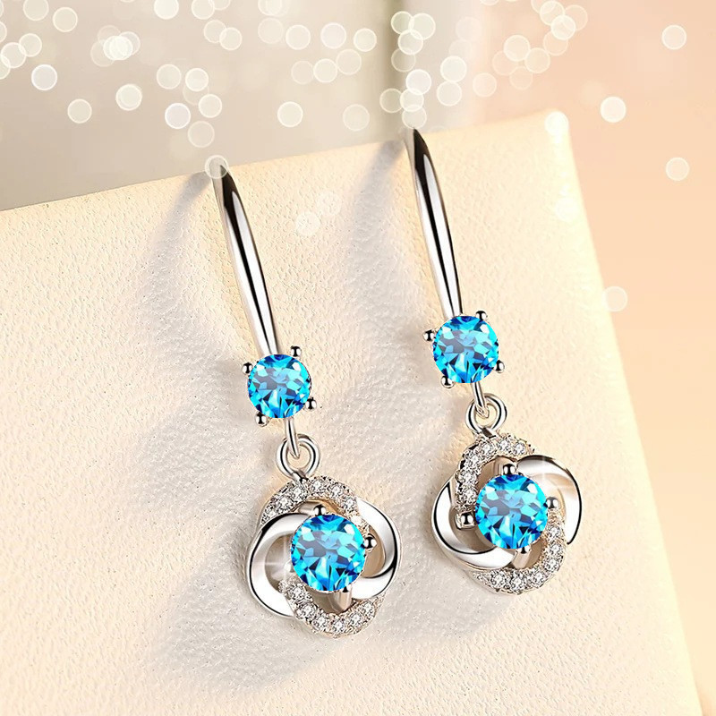 Romantic Lucky Clover Drop Earrings Crystal Zircon Stone Earrings Simple Dangle Earrings Jewelry For Women