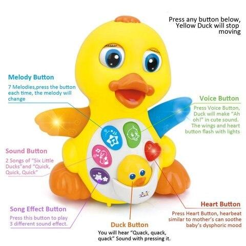 danca cantando brinquedo de pato musical
