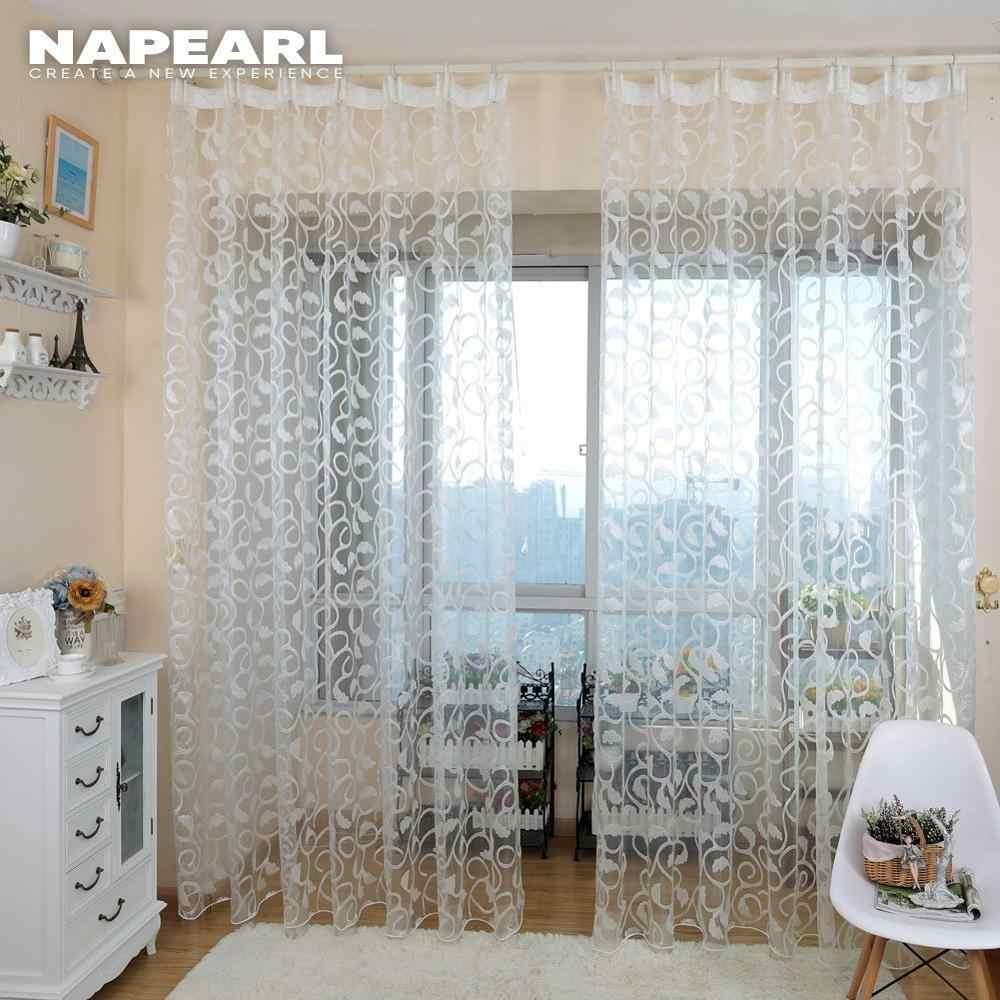 NAPEARL 1 PC style américain jacquard à fleurs design fenêtre rideau transparent pour chambre tulle tissu salon moderne prêt à l'emploi