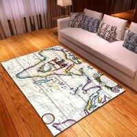 Tapetes e tapetes modernos do quarto do tapete da decoração da casa flanela macia non-slip mapa do mundo padrão área para sala de estar