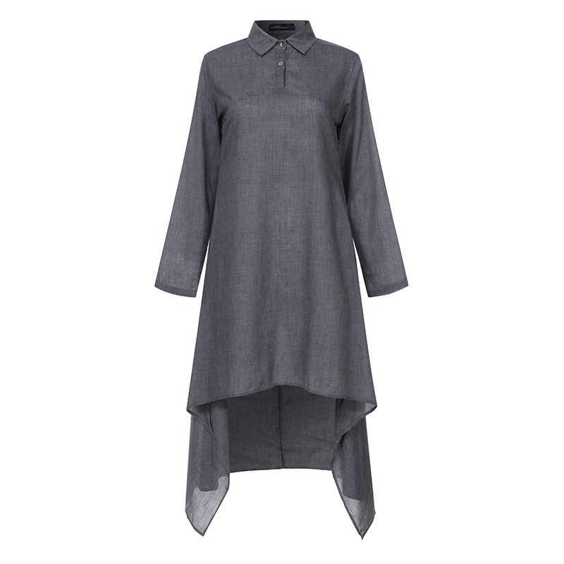 Туника размера плюс, топы, Женская Ретро блуза, лето 2019, ассиметричные длинные рубашки, повседневные, свободные, одноцветные, блузки, женская рубашка