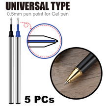 5pc Wholesale imported ink pen refills 0.5mm water refill black orbs blue metal refill