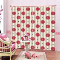 Adroable Red Flower Window Curtains For living room Blackout Bedroom Curtains home drapes