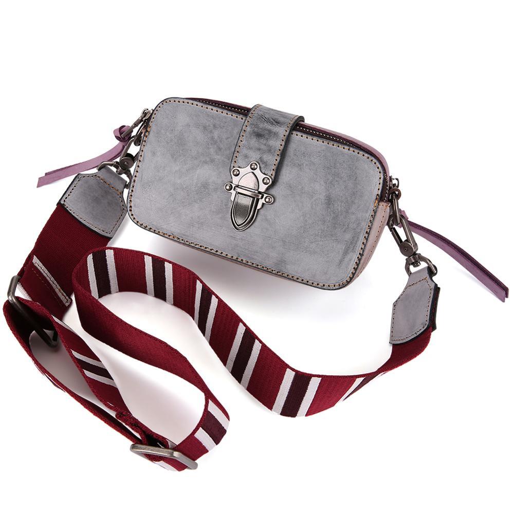 2019 Echt Leer Nieuwe Crossbody Bag Mini Brede Schouderriem Gemengde Kleur Kleine Vierkante Tas Lederen Dames Tas Handtas Flap tas - 3