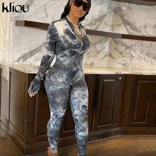 Kliou Tie suchy prążkowany kombinezon kobiety jednoczęściowy rękawiczki rękaw pajacyki wysoka talia rozciągliwy Skinny kobieta odzież sportowa Hot