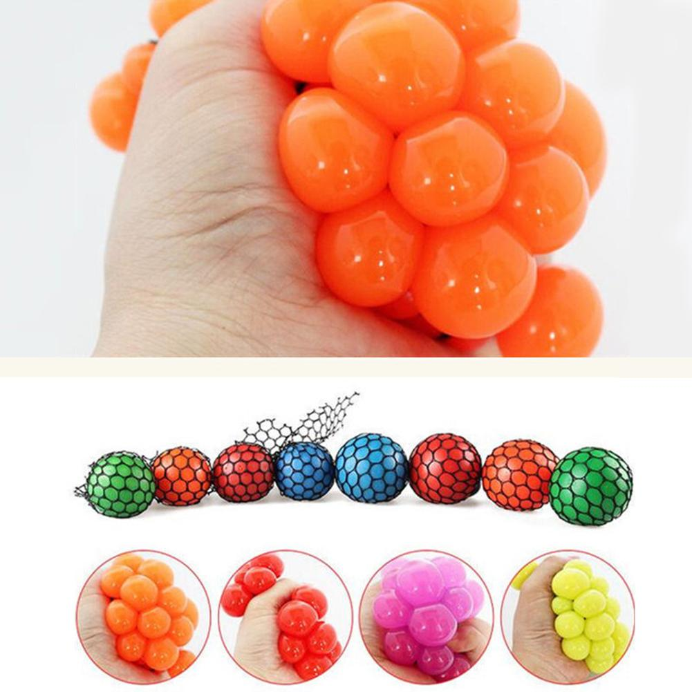 Anti Stress Face Reliever Grape Shape Ball Autism Mood Squeeze Relief Toy Funny Gadgets Gift For Adult Kids Children