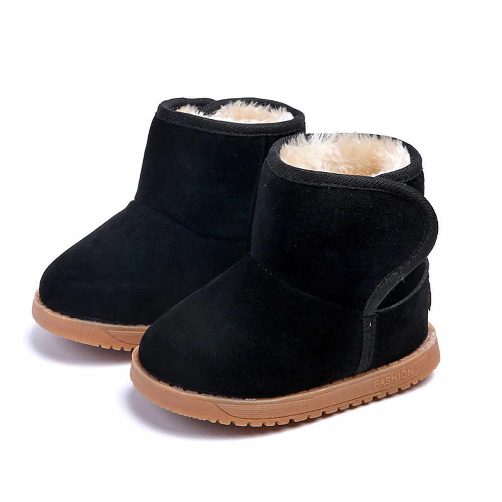 Fashion Children Winter Boots Baby Boys Girls Leather Snow Martin Boot Kids Super Warm Boot with Plush Shoes Children Snow Boots