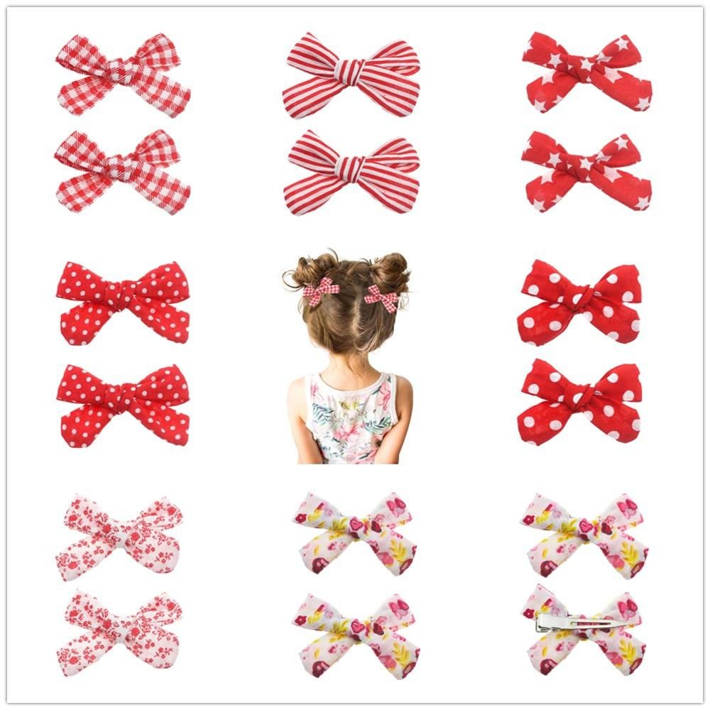 2PCS/SET Red Hair Clips Set Cotton Bow Flower Hairpins Barrettes Hairclips Girls Headdress Kids Gift