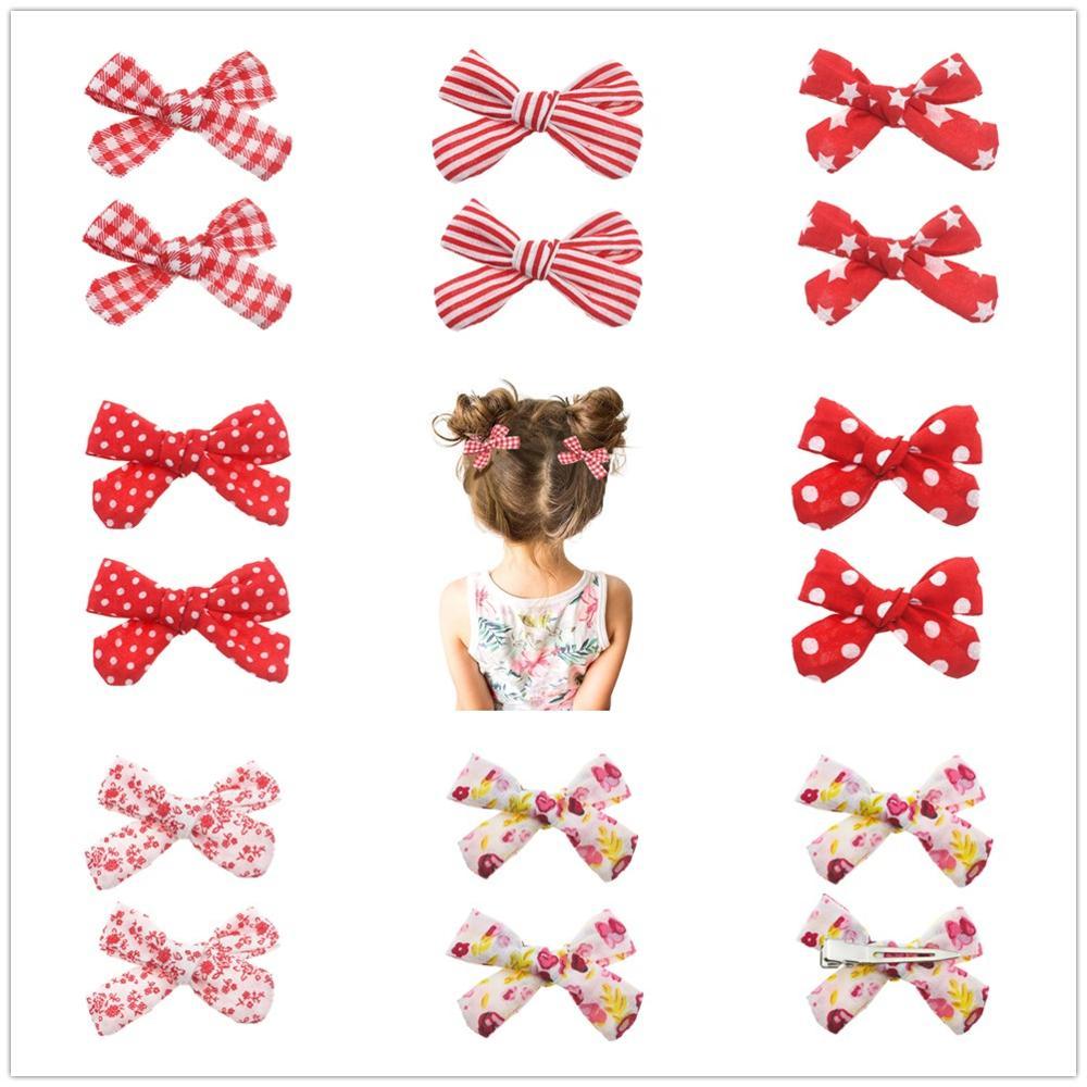 2PCS/SET Red Hair Clips Set Cotton Bow Flower Hairpins Barrettes Hairclips Girls Headdress Kids Gift