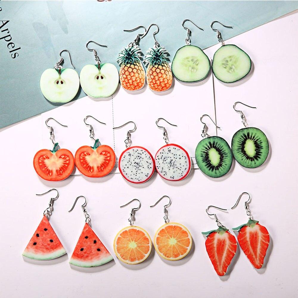 Fashion Cute Fruit Acrylic Dangle Earrings Temperament Watermelon Strawberry Kiwi Orange Earrings For Women Girls Charm Jewelry