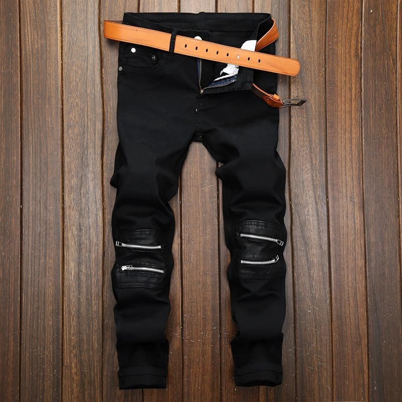 Jeans Men's Black Zipper Decorative Casual Pants Men's Elastic Skin Slim Straight Pants Nightclub Tide Men's Denim Pants