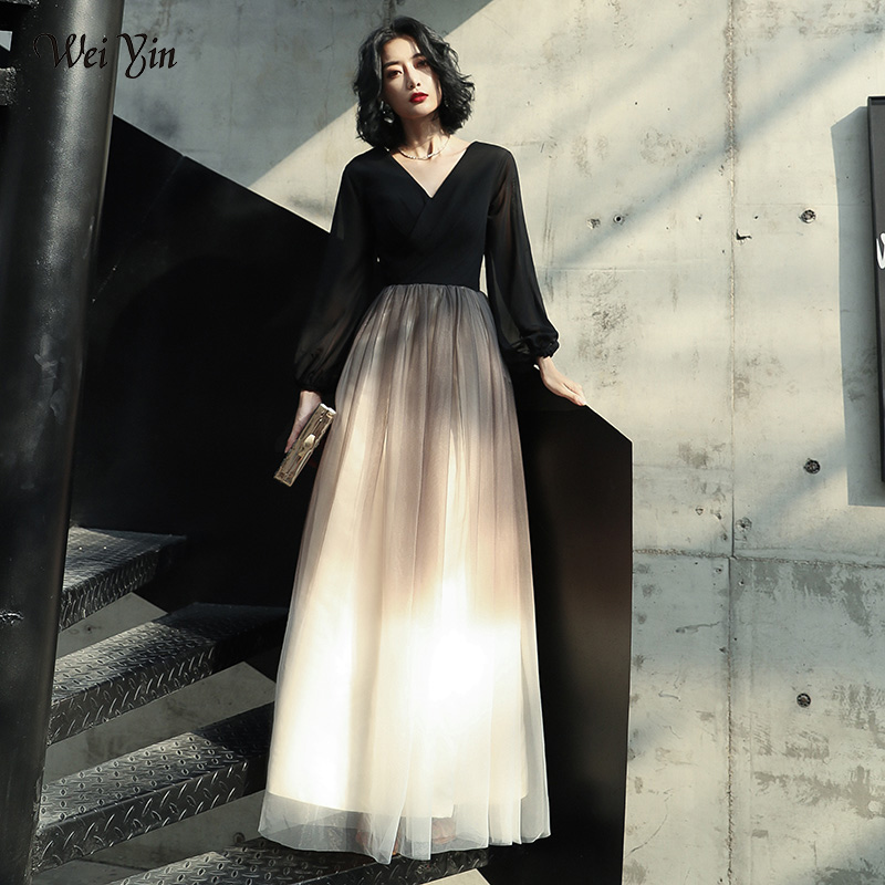 Wei Yin AE0173 Black Evening Dresses Long 2020 New Arrival V-neck Long Sleeve Sexy Long Party Gowns