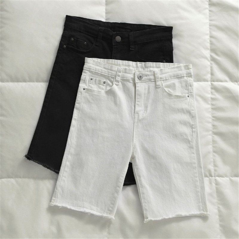 Summer Casual White Black Denim Shorts Women Knee Length High Waist Shorts Women Short Jeans Skinny Stretch Women Shorts C6133