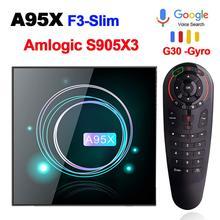 스마트 TV 박스 안드로이드 9.0 A95XF3 Amlogic S905X3 4 기가 바이트 32 기가 바이트 64 기가 바이트 8K HD 2.4/5.0G 와이파이 구글 미디어 플레이어 안드로이드 TV 박스 A95X F3 슬림