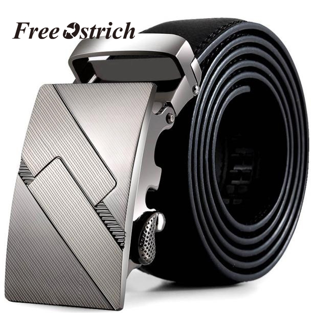 Free Ostich Men Belt Automatic Genuine Leather Luxury Black Belt Men's Belts Automatic Buckle High Quality Belt Cummerbunds Male