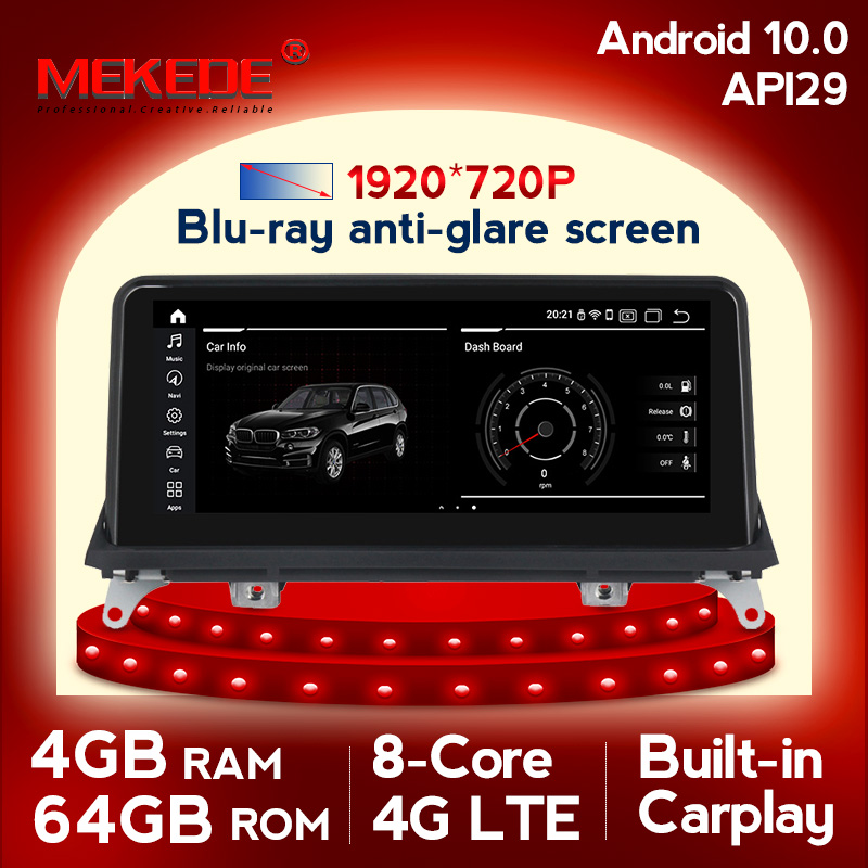 Android 10.0 4GB RAM 64GB ROM car gps navigation multimedia player for <font><b>BMW</b></font> <font><b>X5</b></font> <font><b>E70</b></font> X6 E71 2007-2013 with 4G SIM LTE wifi IPS BT image
