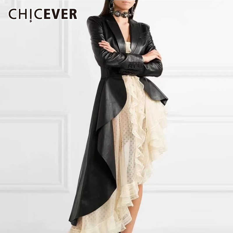 CHICEVER Korean PU Leather Women Trench Coat Clothes Lapel Long Sleeve Autumn Loose Hem Irregular Windbreaker Female Fashion New
