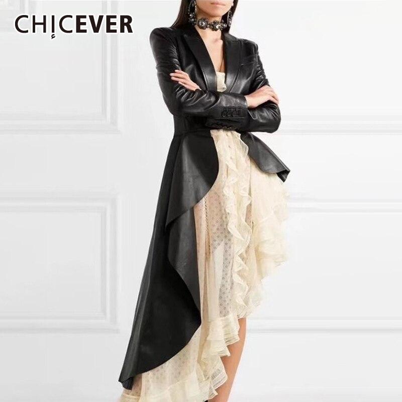 CHICEVER Korean PU Leather Women Trench Coat Clothes Lapel Long Sleeve Autumn Loose Hem Irregular Windbreaker Female Fashion New