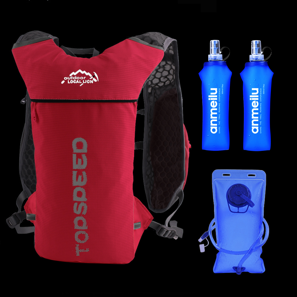 Trail Running Backpack 5L Ultra Running Hydration Vest Pack Marathon Running Bike Rucksack Bag 500ml Soft Flask Bottle Water Bag