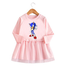 Baby Girls Sonic The Hedgehog Princess Dresses For Kids Girls Long sleeve Clothes Cartoon Party Dress Girls Printed Lace Dresses cheap NoEnName_Null Cotton CN(Origin) Knee-Length Turn-down Collar Regular Full Casual Fits true to size take your normal size