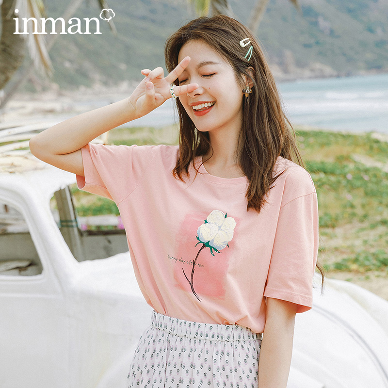 INMAN 2020 Summer New Arrival Pure Cotton Sweet Printed Loose Half Sleeve T-shirt