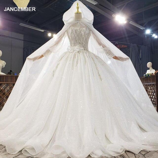 HTL1812 Luxurious Sequined Beading Cloak Wedding Dress 2020 High Neck Long Puff Sleeve Ball Gowns robe femme mariage 1