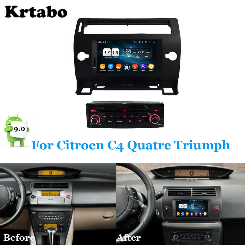 Rádio do carro player multimídia Android Octa núcleo 4G RAM Para Citroen Quatre Triunfo C4 Suporte da tela de toque Do GPS Do Carro carplay