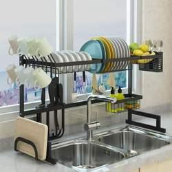 65/85cm cremalheira de prato de aço inoxidável multi-camada rack de secagem de drenagem de armazenamento suportes placa secador talheres copo drenagem cozinha organizador