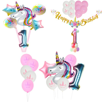 Unicorn Gold Happy Birthday Banner Rainbow Gradient Number Balloons Party Decorations Kids Wedding Balloon