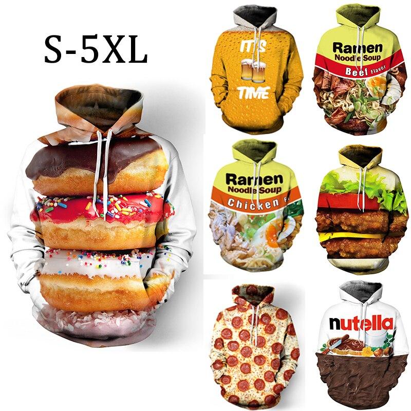 Men 3D Print Hoodies Winter Funny Burger Nutella Donut Food Mens Sweatshirt Women Plus Size Unisex Male Streetwear Pullovers