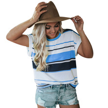 цена на 2019 Casual Women Streetwear T Shirt Short Sleeve Striped Print O Neck Tops Summer Top Tee Fashion Female camisetas verano mujer