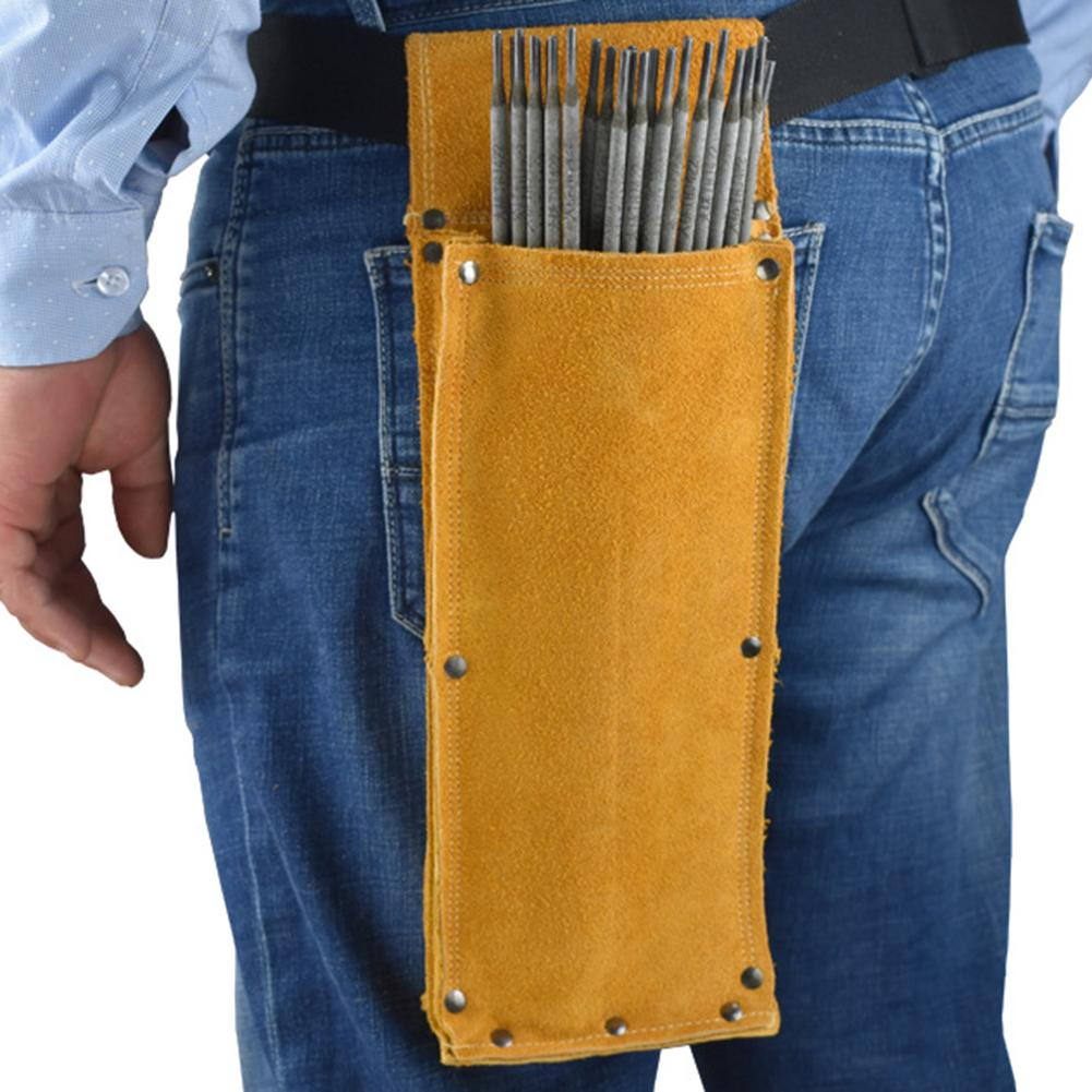 Leather Hardware Tool Waist Bag Flame Retardant Cowhide Electrode Holder Welding Rod Storage Bag