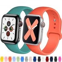 Correa de silicona para Apple Watch, banda deportiva de goma de 44mm, 40mm, 38mm y 42mm para iWatch serie 5, 4, 3, se, 6