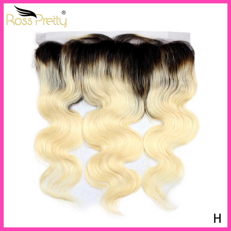 Ombre color 1b Blonde Lace Frontal Middle and Free Part Swiss Lace Front Brazilian Hair Body Wave Color 1b613 Ross Pretty Brand
