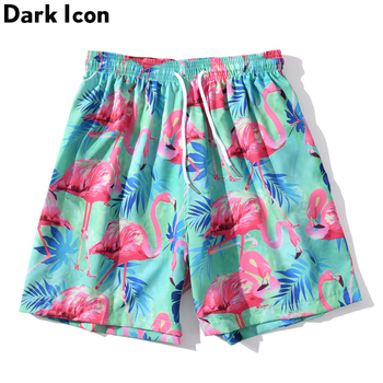 Dark Icon Summer Beach Shorts Men 2020 Summer Fashion Casual Shorts  Drawstring Waist Hipster Shorts For Men men embroidery detail drawstring waist shorts