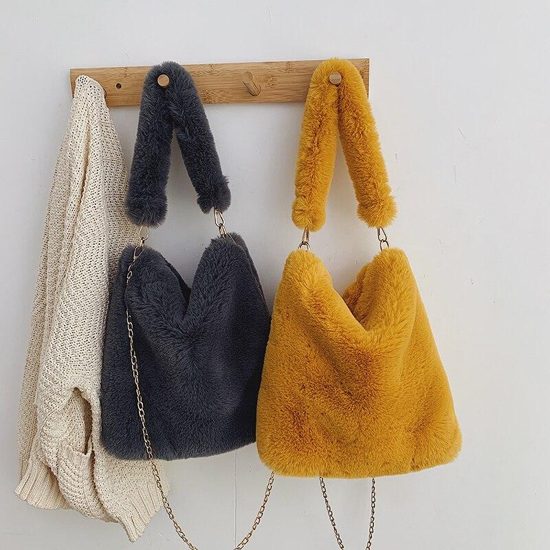 LITTHING 2019 New Women Shoulder Bucket Bags Faux Fur Plush Cony Hair Tote Bags Female Top Korean Ladies Chain Crossbody Bag