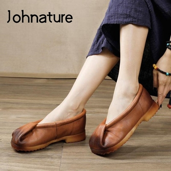 Johnature 2020 New Spring Women Shoes Pumps Genuine Leather Retro Shallow Handmade Square Toe Casual Concise Ladies Shoes