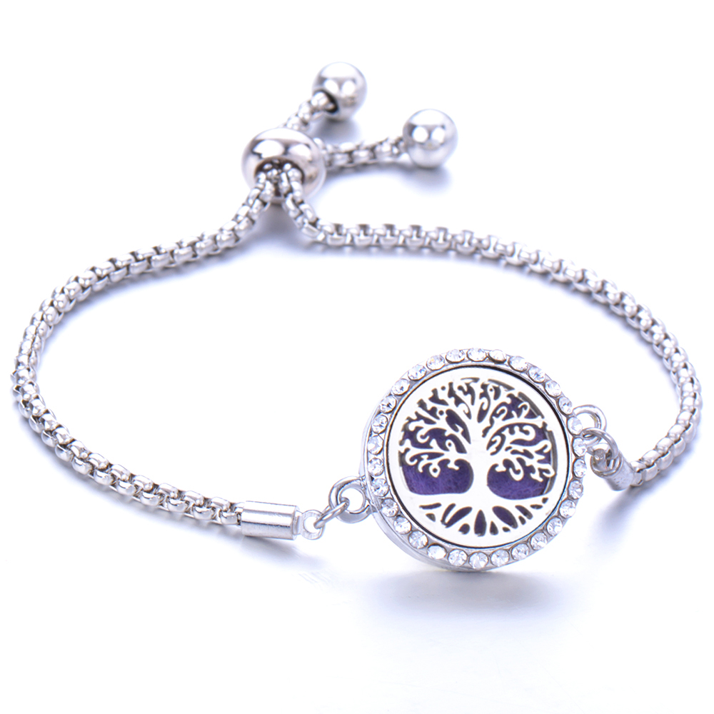 Hot Sale Full zircon Stainless Steel Aromatherapy Bracelet Adjustable Magnetic Essential oil Diffusing Bracelet for Women