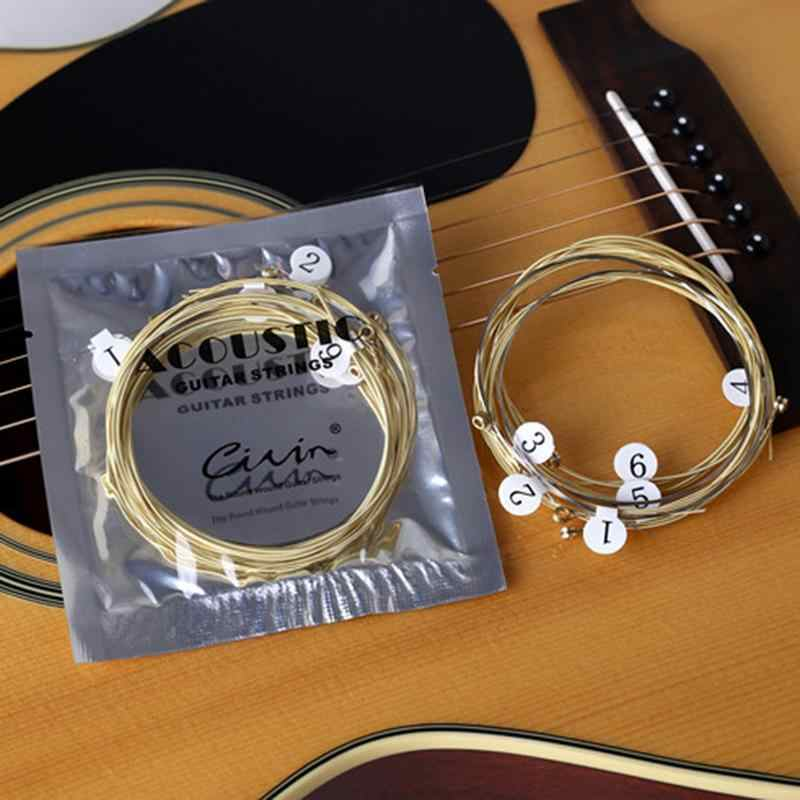 6pcs/set Universal Acoustic Guitar String Brass Hexagonal Steel Core Strings For Musical Instruments Guitars Strings Guitar Part