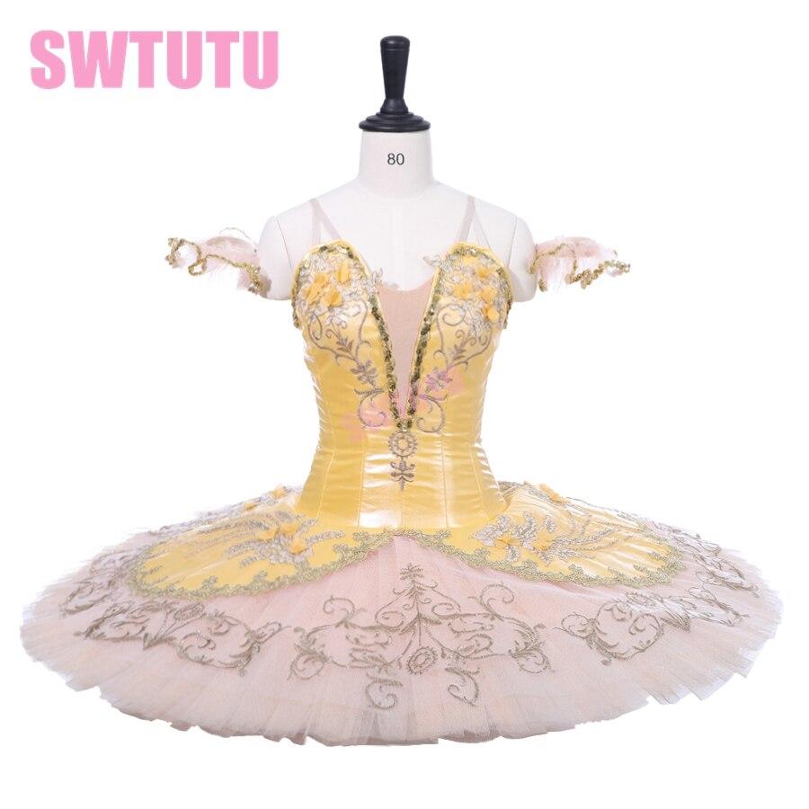 Классический балетный сценический костюм, юбка пачка для взрослых, профессиональная балетная пачка золотистого цвета для девочек, BT9233
