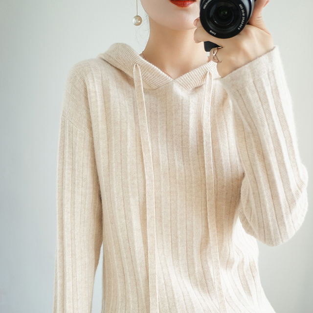 100% Pure Wool New Cashmere Sweater Women's Hooded Collar Solid Color Pullover Fashion Plus Size Warm Knitted Bottoming Shirt 3