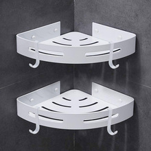 Bathroom Shower Caddy Corner Shelf with 4 Hooks Bathroom Toilet Kitchen Storage Organizer Adhesive No Drilling Aluminum Shelves