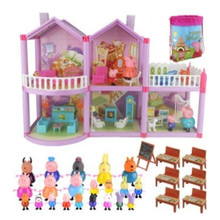 Peppa Pig Series Educational Kids Toys Luxury Villa Family Full Roles Doll Action Figure Model Children Best Birthday Gifts