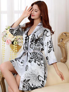 Robe-Set Nightwear Kimono Sleepwear Bath-Gown Rayon Satin Bridesmaid Female Sexy Casual