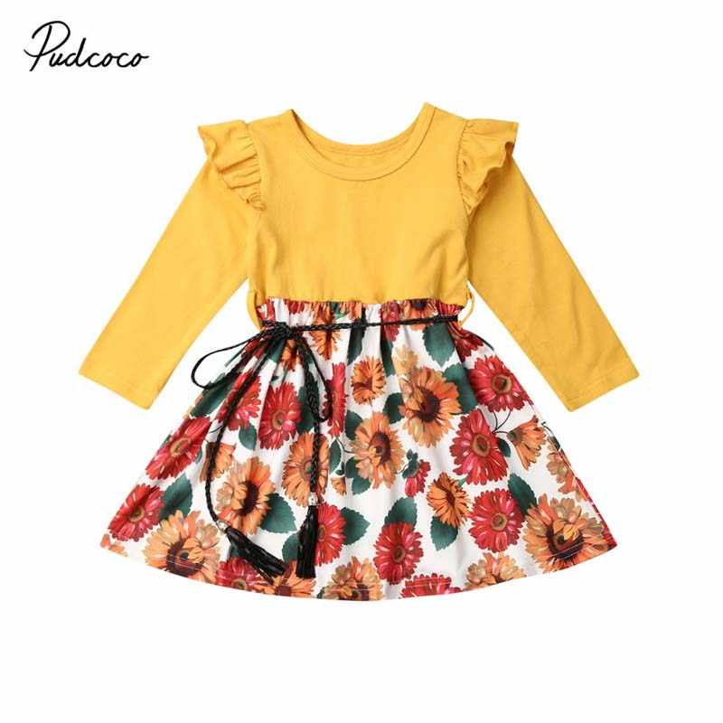 2019 Baby Spring Autumn Clothing Lovely Baby Girl Long Sleeve Dress Outfit Sunflower Print Patchwork Casual Party Dress 1-6T