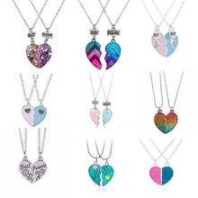 Collier à paillettes rose et bleu avec cœur brisé, pendentif, chaîne, bijoux d'amitié, cadeaux pour enfants 2 pièces/ensemble