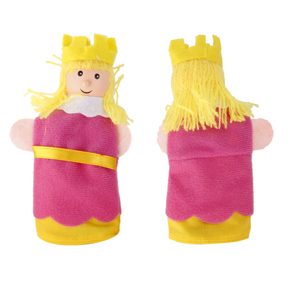 SET OF 6 FAIRYTALE FINGER PUPPETS KING QUEEN PRINCE PRINCESS JESTER WIZARD