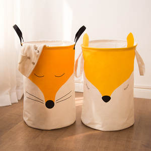Bucket Storage-Basket Toy Linen Cotton Laundry-Bas Folding Direct-Selling Large-Size